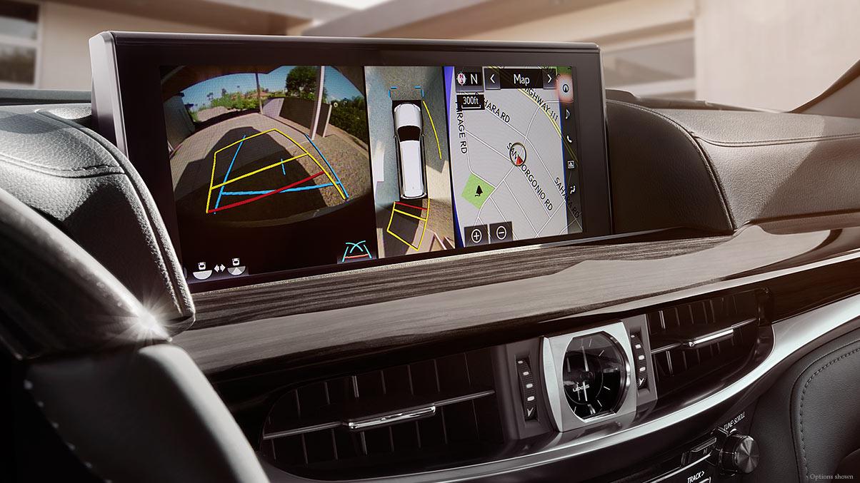 Interior shot of the 2017 Lexus LX Multi-view technology.