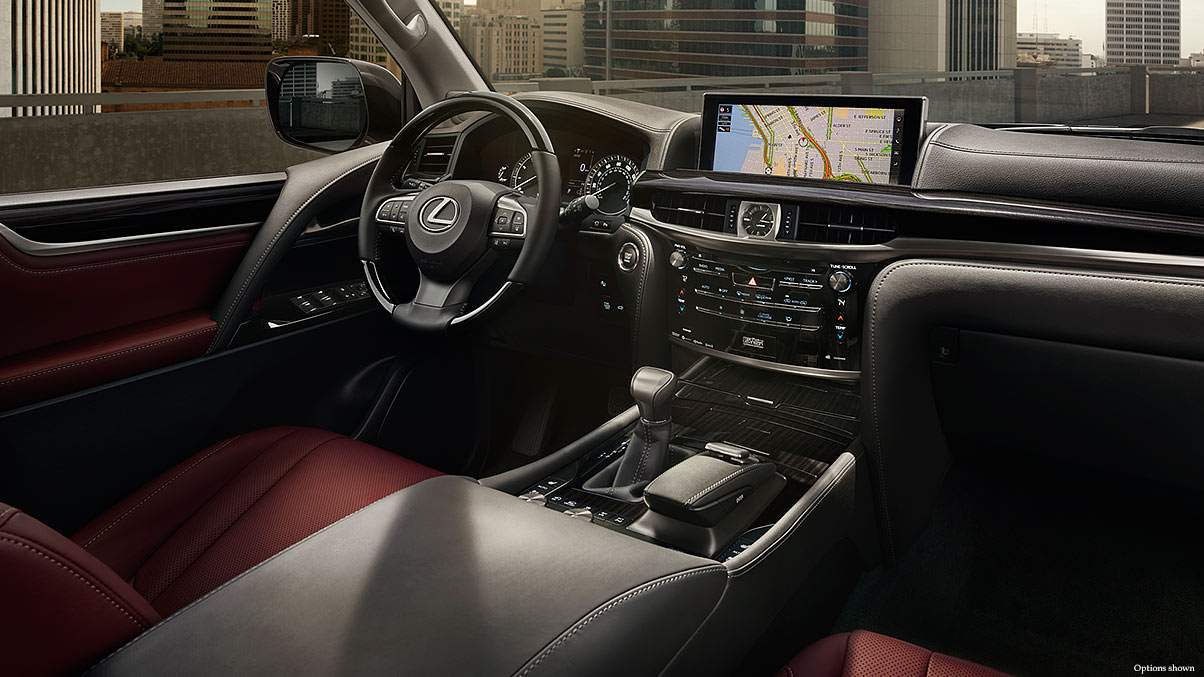 Interior shot of the 2017 Lexus LX Navigation screen.