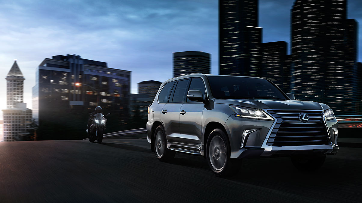 Exterior shot of the 2017 Lexus LX in Nebula Gray Pearl.