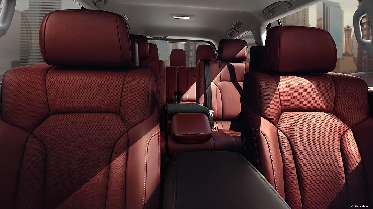 Interior shot of the 2017 Lexus LX with Cabernet semi-aniline leather trim.
