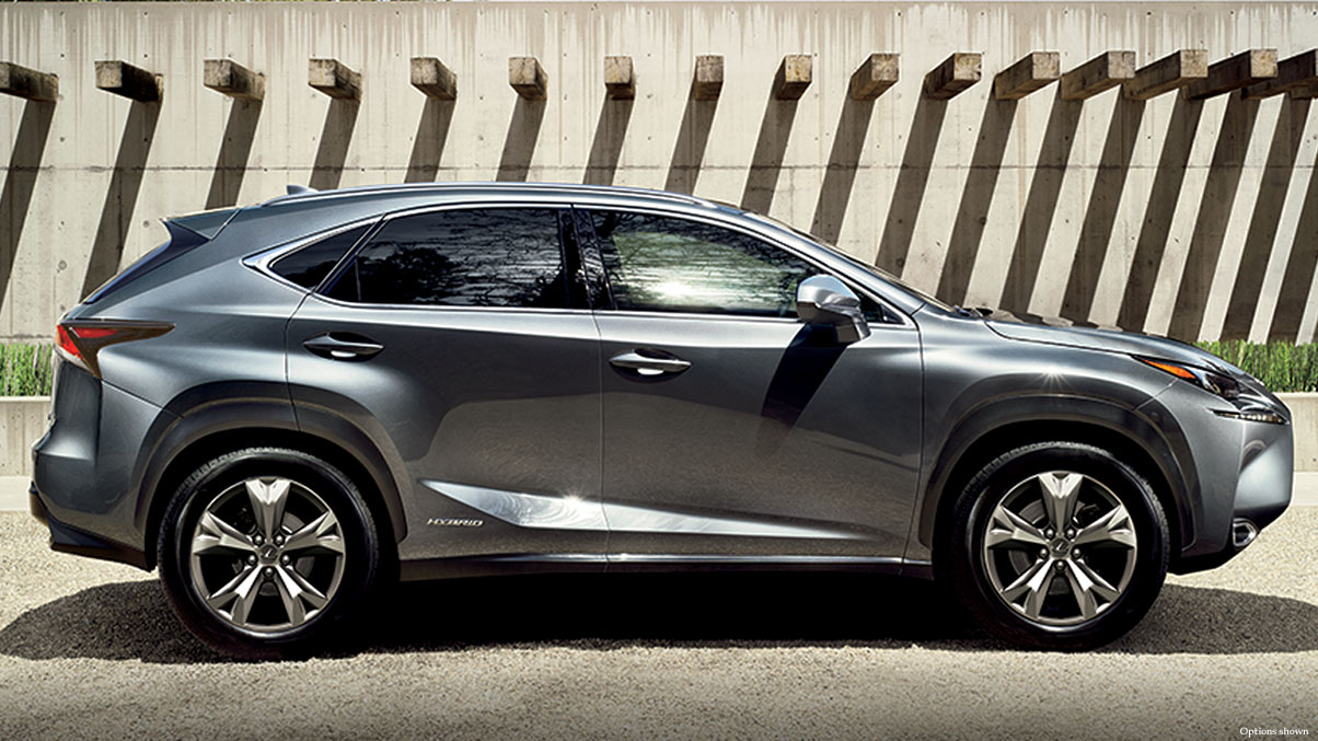 Exterior shot of the 2017 Lexus NX Hybrid shown in Nebula Gray Pearl