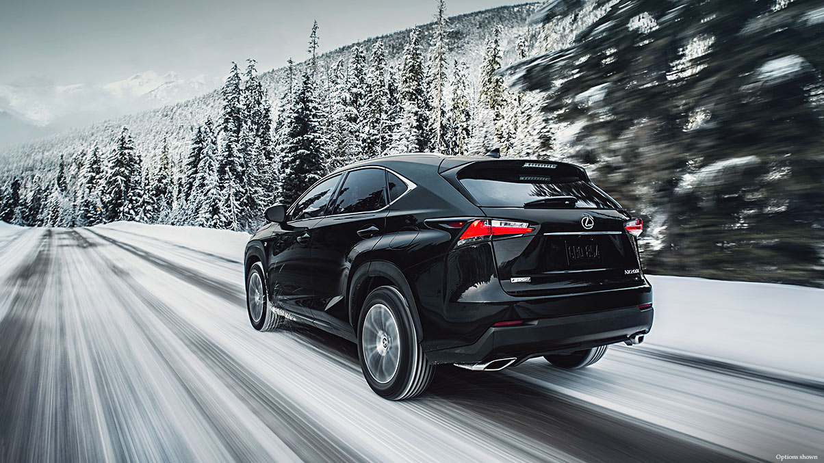 Exterior shot of the 2017 Lexus NX shown in Obsidian