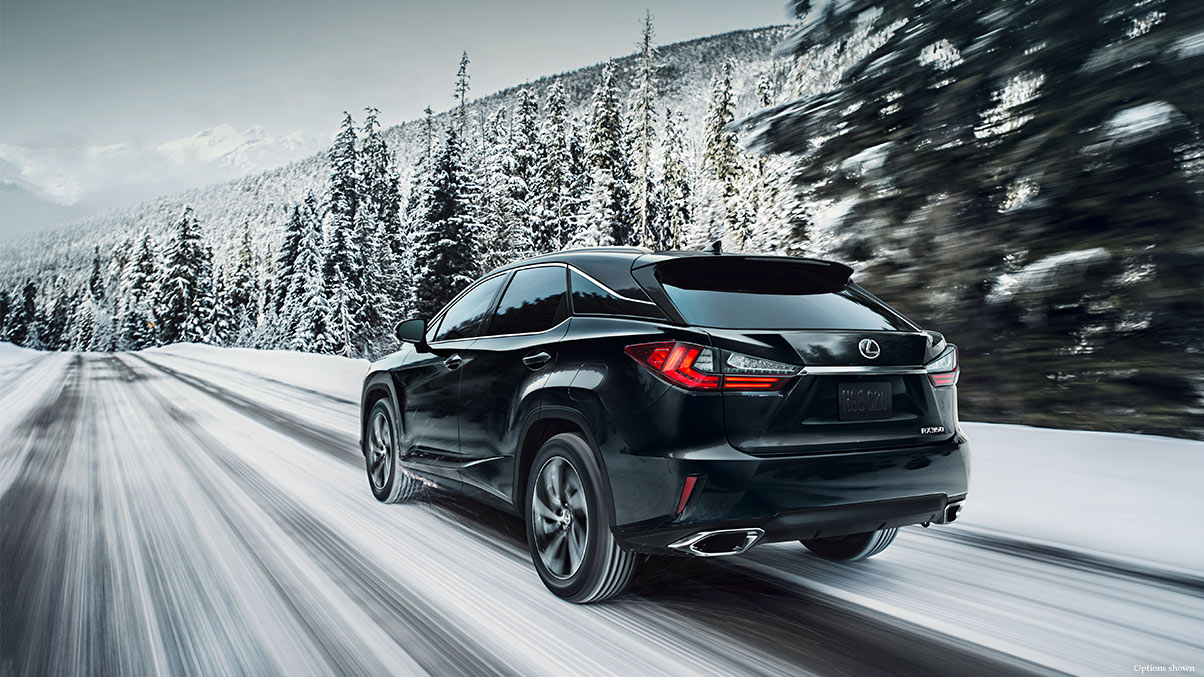 Exterior shot of the 2017 Lexus RX shown in Obsidian