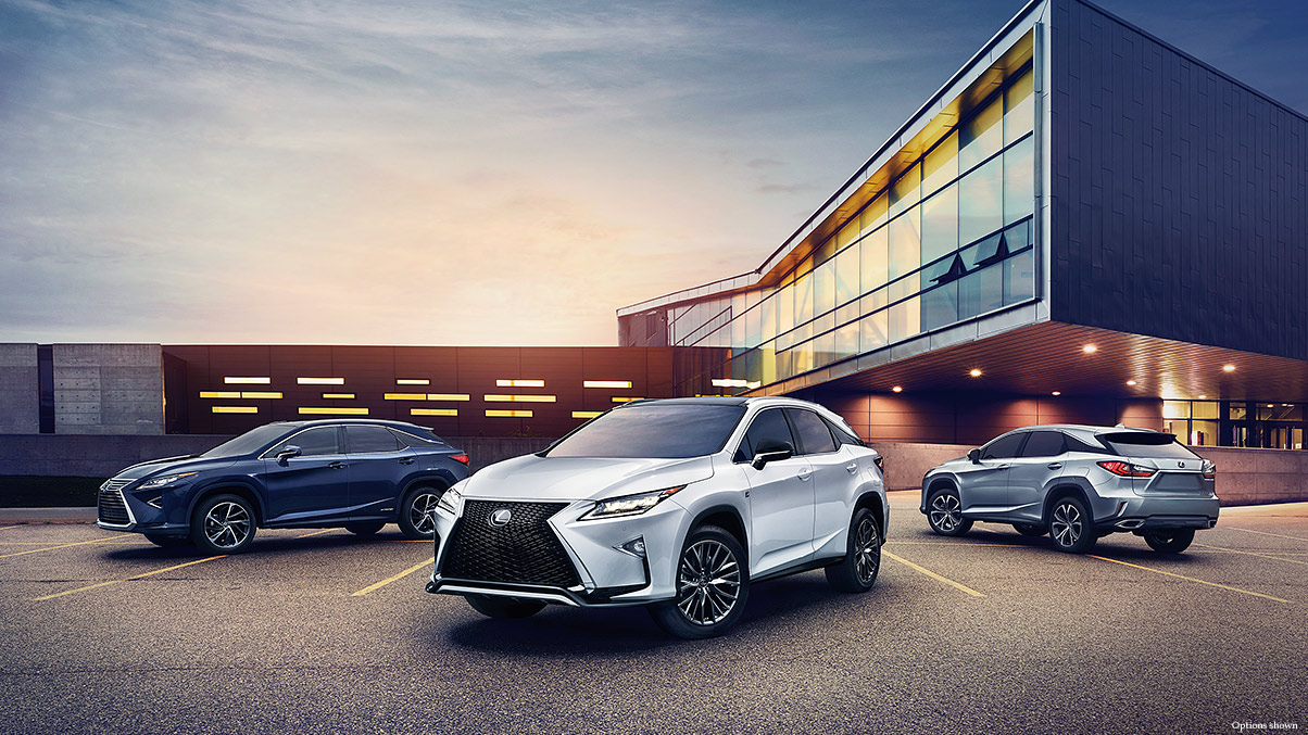 Exterior shot of the 2017 Lexus RX shown in Eminent White Pearl